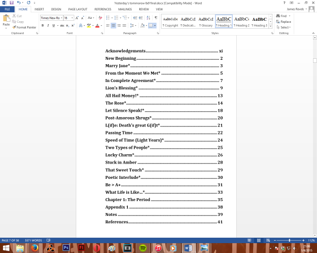 """Draft of Table of Contents for book """"Yesterday's Tomorrow"""""""