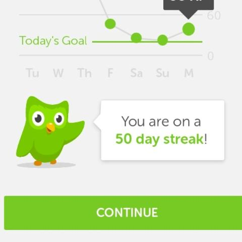 50 days straight of Spanish practice on this app called Duolingo add e username: jlronthebeat